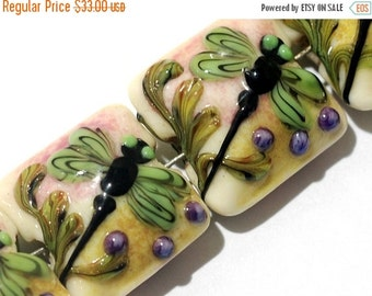 ON SALE 30% OFF Glass Lampwork Bead Set - Four Green Dragonfly Pillow Beads 11005914