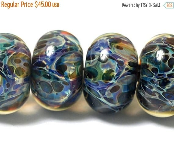 ON SALE 50% OFF Six Blues Free Style Borosilicate Rondelle Beads - Handmade Glass Lampwork Bead Set 10408201