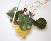 Clay Hanging Planter in  Stoneware with Golden Yellow Glaze about Four by five with Abstract Carving