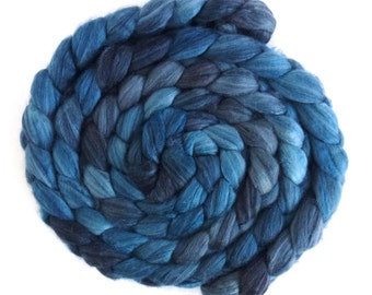 Merino/ Superwash Merino/ Silk Roving (Top) - Handpainted Spinning or Felting Fiber, Dark Sky Tonal