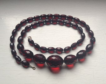 "28"" Cherry Amber Bakelite Faceted Oval Graduated Beaded Necklace 45 grams of Gorgeous Rich Red Beads Back Thennish Vintage"