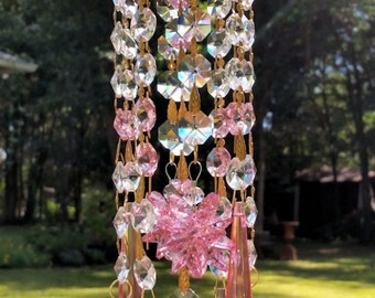 Precious Pink Crystal Sun Catcher, Venetian Pink Sun Catcher, Window Decor, Home Decor