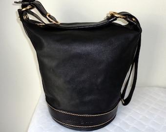 Marino Orlandi x lrge carryall, crossbody bag, handbag shoulder bag ,satchel Italian luxury black leather , signature hardware vintage mint