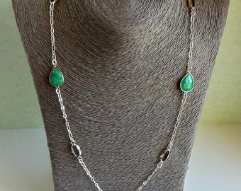 Faceted Bezel Set Emerald Teardrops and Oval Gemstones Long Curb Chain Necklace
