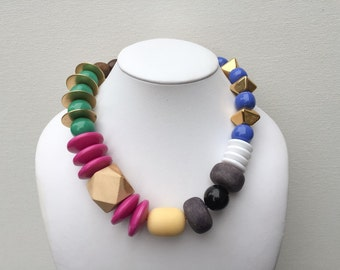 Necklace 2.1 - handmade asymmetrical statement necklace featuring vintage lucite, metal and wood beads