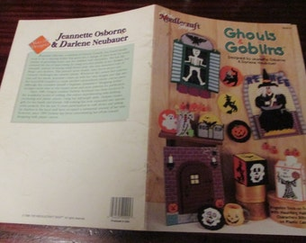 Halloween Holiday Plastic Canvas Pattern Ghouls & Goblins The Needlecraft Shop 983016 Plastic Canvas Leaflet