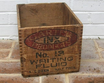 Antique Vintage Wood Wooden Box Antique Vintage Carter's Ink Box Inx Box Liquid Writing Fluid Box