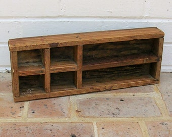 Antique Vintage Knick Knack Shelf Vintage Shadow Box Vintage Divided Wooden Box Crate