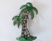 Valentines Day Sale Vintage tropical beach guilloche enamel and rhinestone paste palm trees pin or brooch 1940s