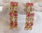 Valentines Day Sale Vintage Trifari earrings rhinestone earrings dangle earring comfort clipearrings pink earrings clear on gold tone metal