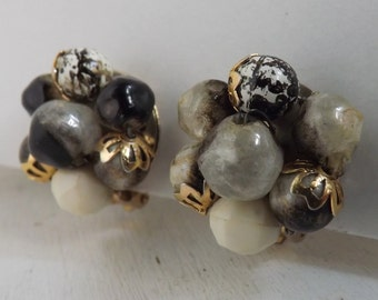 Vintage lucite cluster beaded earrings art beads, marbled and speckled blacks, grays and whites gold tone clip on earrings Hong Kong