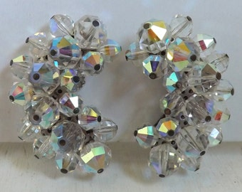 Vintage climber earrings aurora borealis clear cluster beaded earrings crescent earrings bridal wedding jewelry