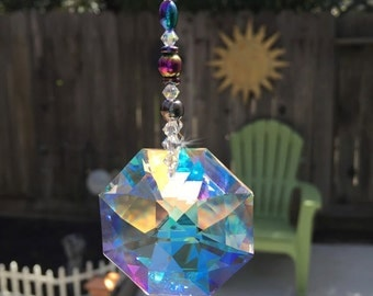 Large 40mm and Medium 28mm Rainbow Swarovski Crystal Octagon Suncatcher for Car or Home, Made with Hematite Rainbow Beads, Window Crystals