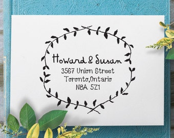 Custom Address Stamp, Self Inking Rubber Stamp, Wooden Address Stamp, Calligraphy Stamp, Personalized Gift - 1206