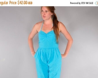 JULY SALE Vintage Turquoise Cotton Jumpsuit // 80's Sweetheart Halter Bodice // Cropped Jumpsuit // M