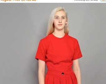 JULY SALE Vintage 1950's Red Dress // Saddle Stitch Details // Cari-Lu Dresses / S M