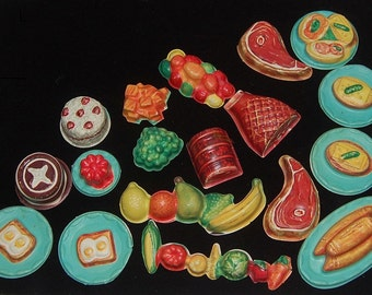 Vintage 50's Plastic Food Lot Toy Craft Supplies Cake Meat Veggies Fried Eggs Fake