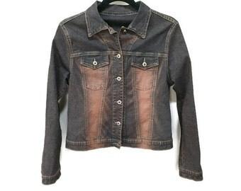 Juniors Jean Jacket, Dark Denim Jacket, Kids Vintage Jacket Vintage Kids Jean Jacket Distressed Two Tone Denim Jacket 12 14 Vintage Youth XL