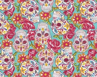 Festive Sugar Skull on Teal Fabric By The Yard