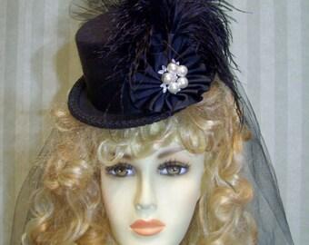 Black Steampunk Mini Top Hat Cosplay Hat Neo Victorian Hat Halloween Hat Alice in WonDerland Hat