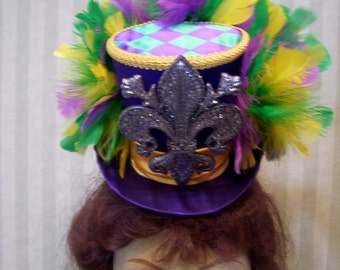 Mardi Gras mini Top Hat, Mascquerade Hat, Carnival Mini Top hat, Alice in Wonderland Mini Top Hat, Mad Tea Party Hat