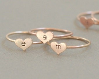 personalized ROSE gold ring. initial ring. ROSE gold heart ring. hand stamped letter. custom initial jewelry. gift for her.