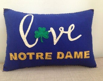 Felt Notre Dame Fighting Irish Decorative Accent Pillow 12x18