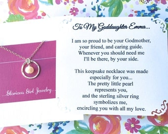 GODDAUGHTER Gift With POEM CARD - Goddaughter Jewelry Gift for Goddaughter Pearl Sterling Silver Baptism Confirmation God Daughter Birthday