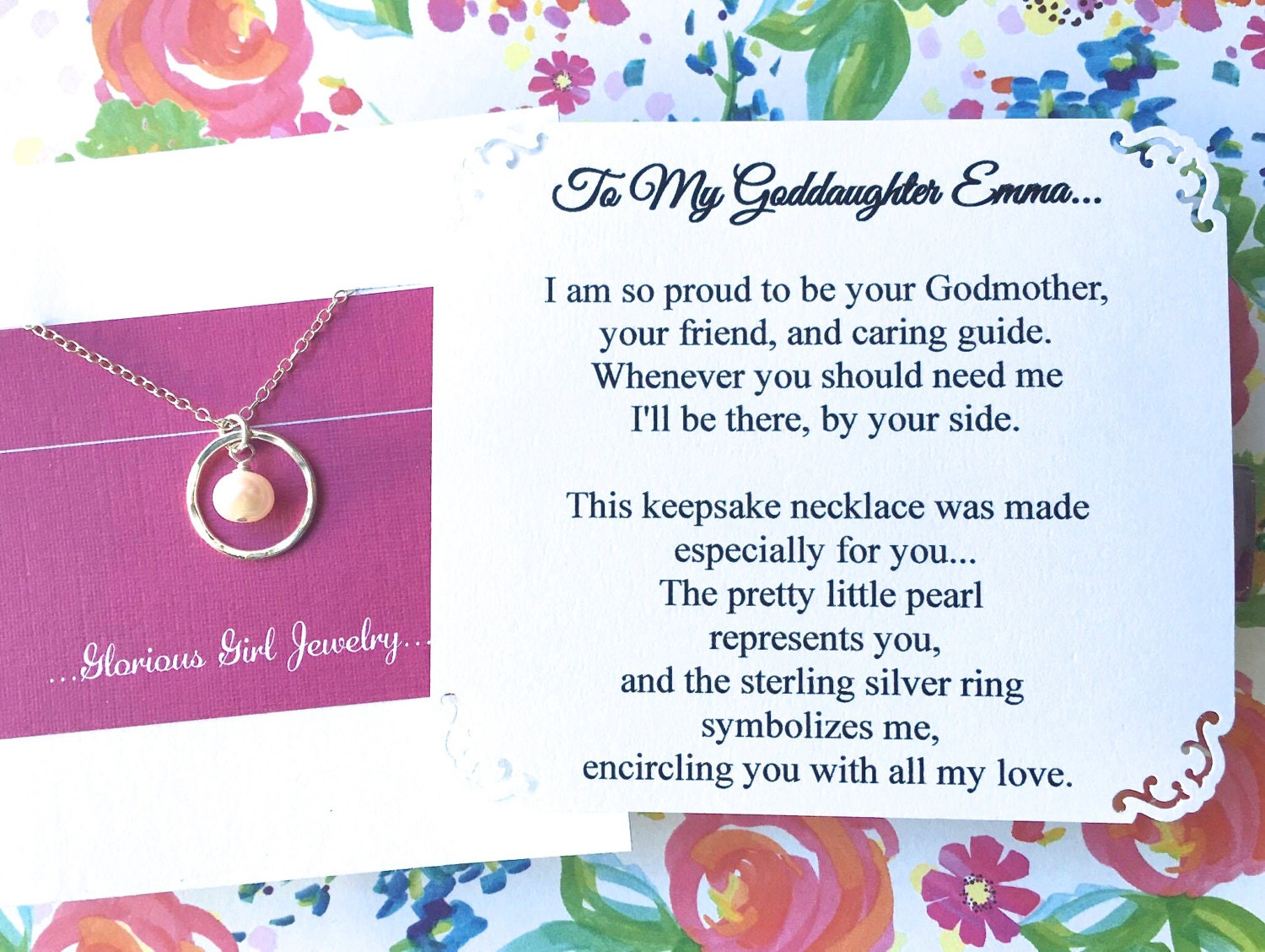 Happy Birthday Godmother Card: GODDAUGHTER Necklace With POEM CARD Jewelry Gift For