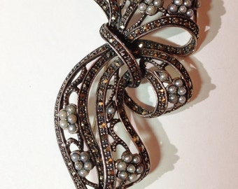 Vintage Bow Brooch marked .925 with Seed Pearls and Cut Steel