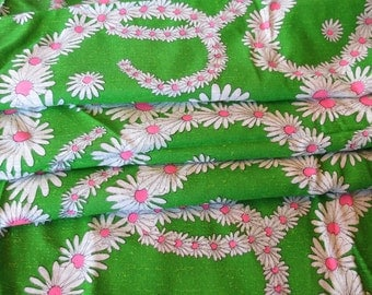 Vintage Chartreuse White Daisy Fabric Pink Green Yardage 1970s