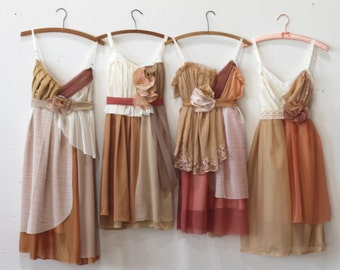 Custom Autumnal Brown & Earthtone Bridesmaids Dresses