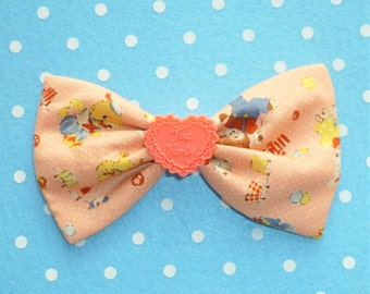 SALE Cute Vintage Style Toy Friends Hair Bow Clip with Coral Tea Party Heart Detail