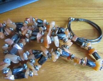 Orange agate magnet necklace