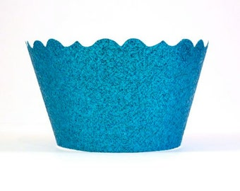 Glitter Ocean Blue Cupcake Wrappers -  Includes 12 cupcake wrappers