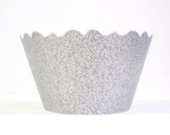 Glitter Silver Cupcake Wrappers - Includes 12 Cupcake Holders