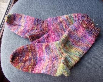 children' s hand knitted socks,Childs socks in  wool and acrylic mix,childs soft knitted socks