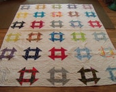 """New Quilt. Churn Dash Block. Vintage Fabrics. Heavy hand Quilting. 74""""x 92"""" Bright and Happy."""