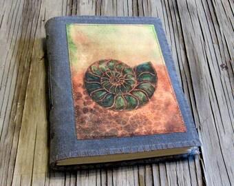 SALE ammonite journal - gray waxed canvas journal devotion meditation journal by tremundo