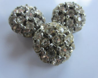 Vintage Buttons - 3 beautiful domed,  rhinestone embellished, antique silver finish metal (dec1b)
