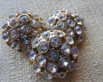 Vintage Buttons - 3 beautiful  matching rhinestone embellished, antique gold finish metal (feb139b)