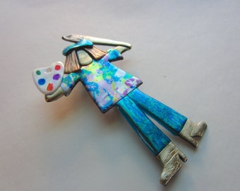 Artist Pin Art with paint brush and paint palette brooch in teal