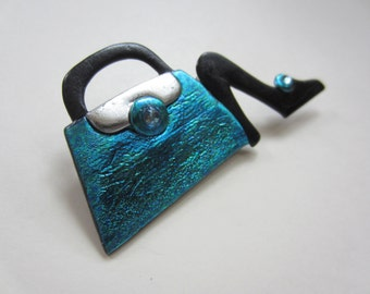 Shoe and Purse Pin Brooch in teal and black