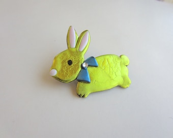 Easter bunny rabbit  yellow peeps pin brooch