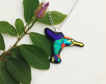 Hummingbird pendant, fused dichroic glass, dark blue, green, bird