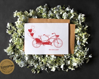 "A6 greeting card ""Tandem"" wedding engagement love"