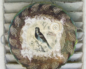 Handmade Altered Silver Tray Collage Vintage Silver Plate Altered Art Original Bird Art Vintage Bird Collage Shabby White Lace Decor