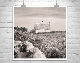 Barn Art, Block Island, Photography Print, Farm Pasture Picture, Rhode Island, Barn Photograph, Countryside, Vintage Barns, Black and White