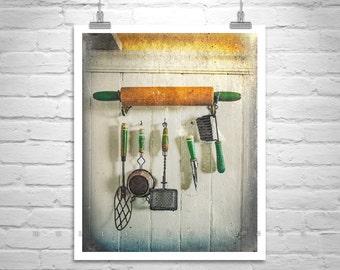 Good Vintage Kitchen Picture, Antique Kitchen Decor, Kitchen Print, Ready To  Hang, Home