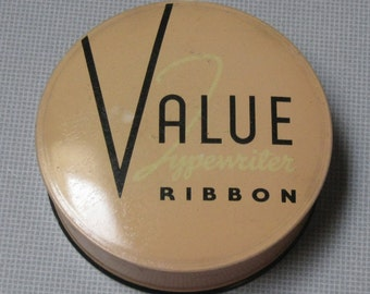 Vintage Value Typewriter Ribbon Tin Pinkish Beige and Black